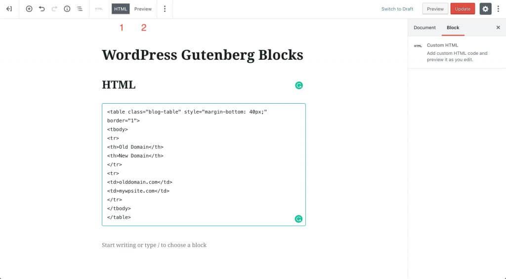 wp-gutenberg-blocks-html