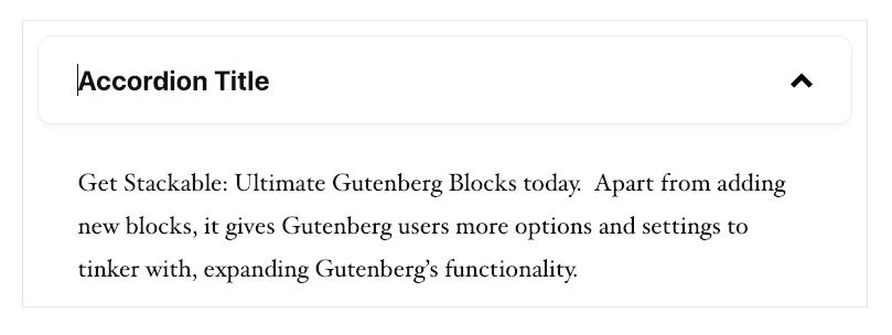 WordPress Gutenberg Stackable Accordion Block