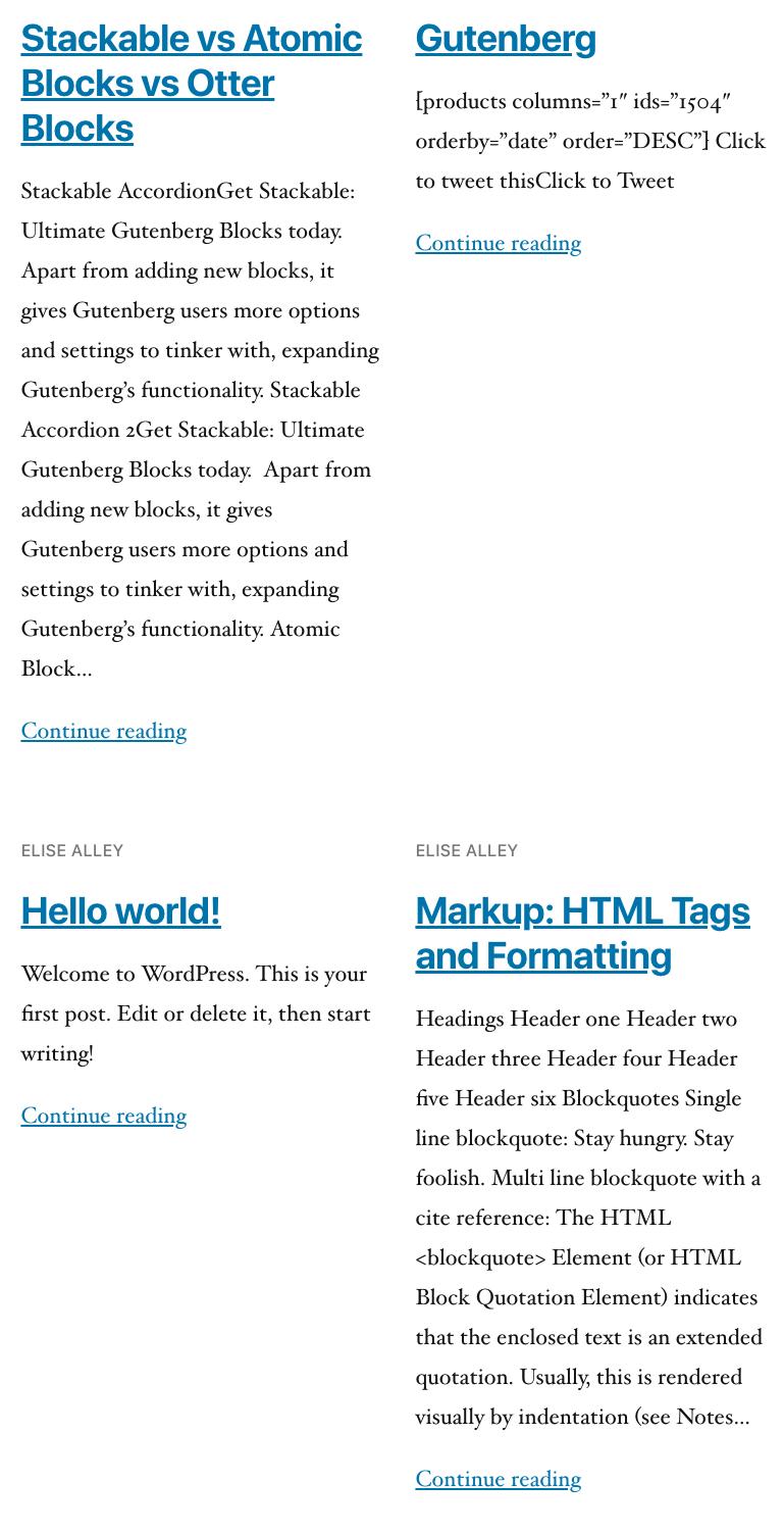 WordPress Gutenberg Stackable Post Block