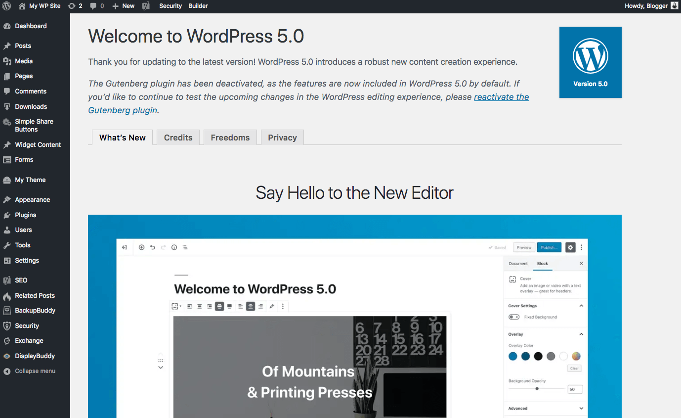 wordpress 5.0 welcome