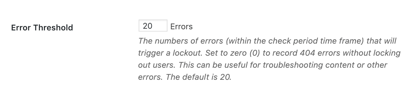 404 Pages - Error Threshold