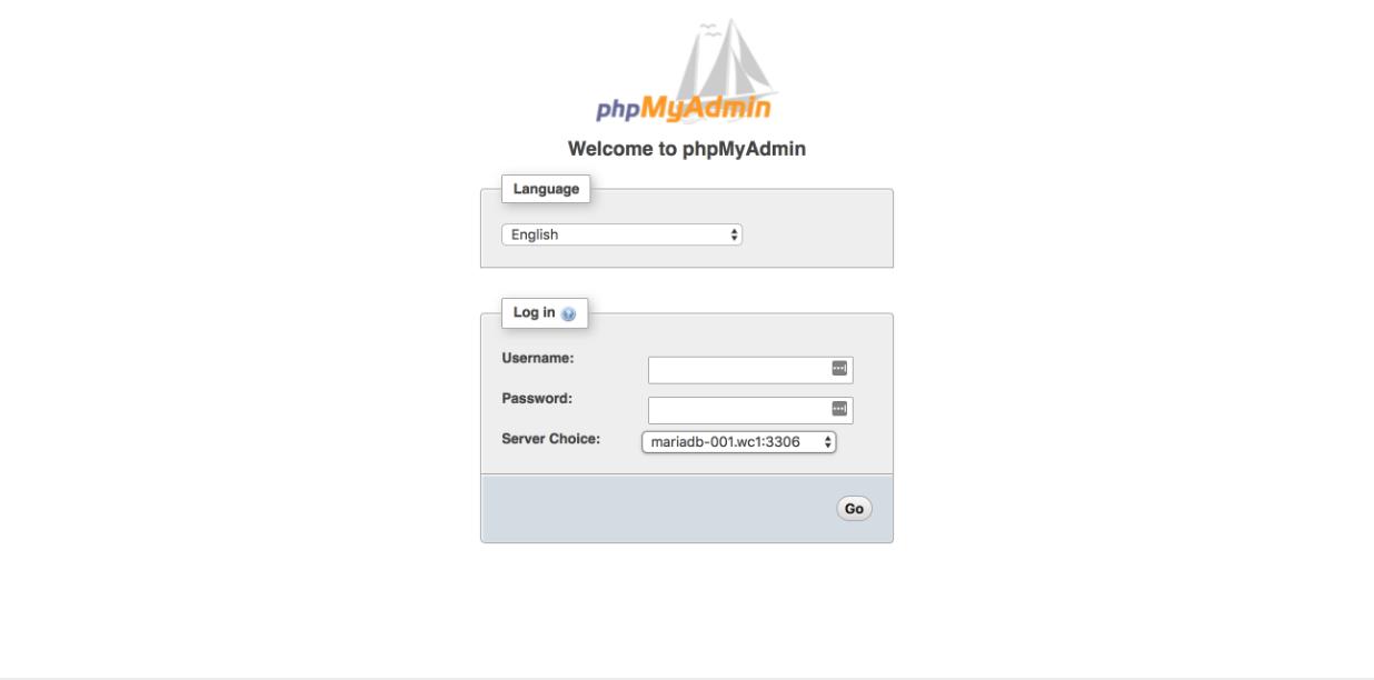 Site Management Tools - phpMyAdmin Login