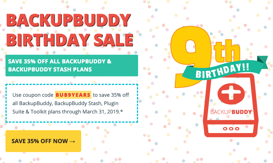BackupBuddy 9th Birthday Sale