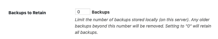 iThemes Security Backup Restore - Backups to Retain