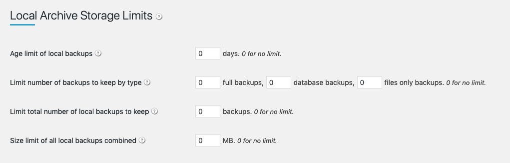 BackupBuddy Backup Location - Local Archive Storage Limits