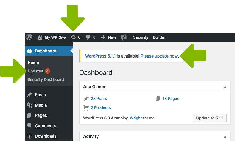 wordpress update notifications