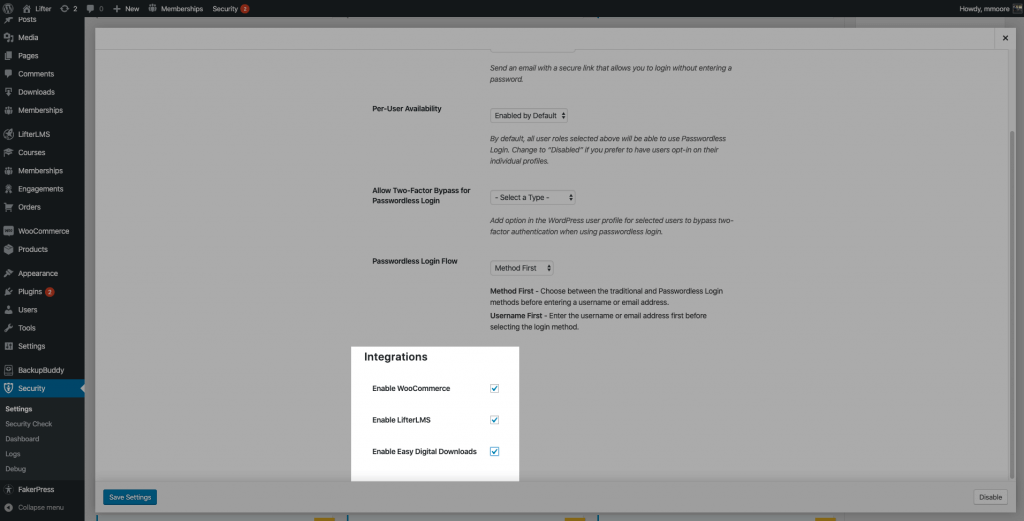 Passwordless Login Integration Settings