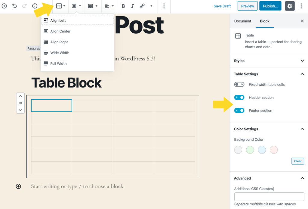 wordpress table block
