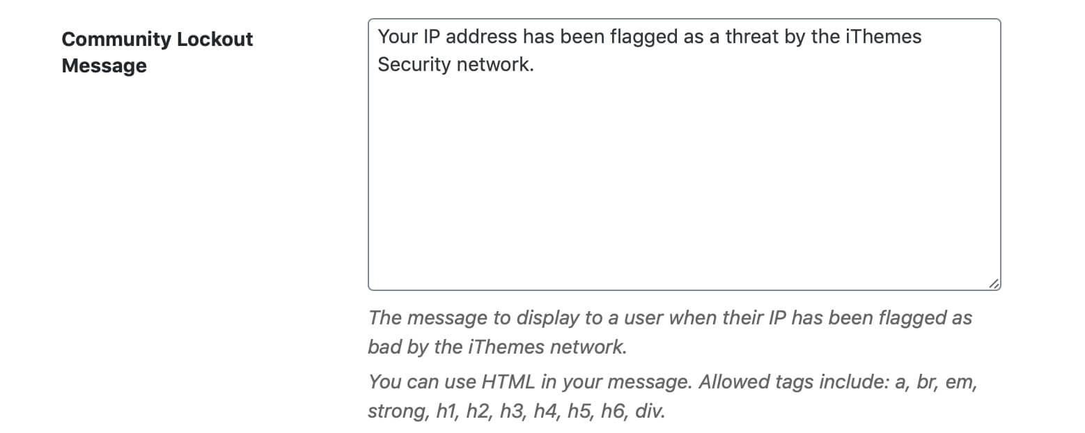 A screenshot of the Community Lockout Message settings box
