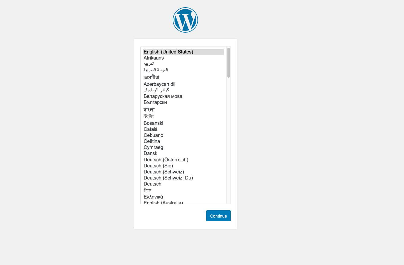 WordPress language selection