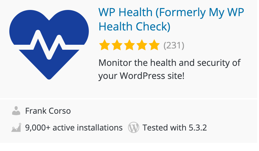 Health Plugin for WordPress sites