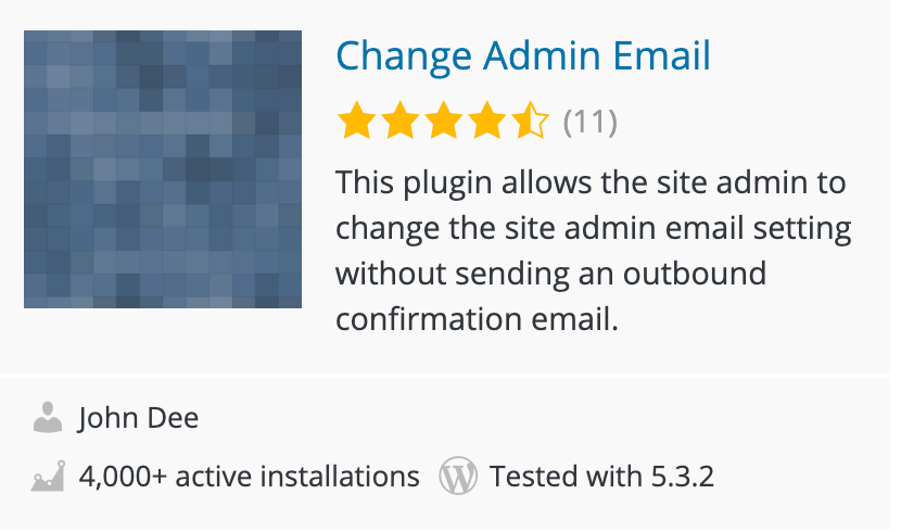 Change Admin email WordPress plugin