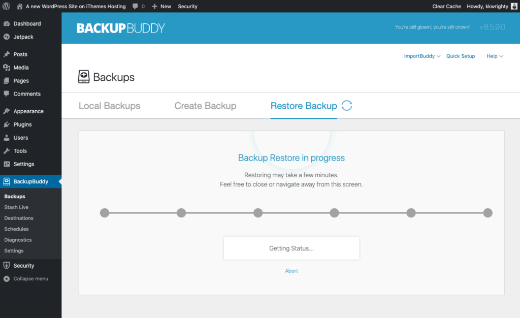 WordPress restore status