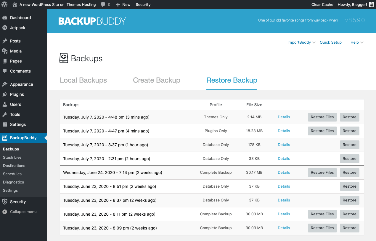 WordPress backup list