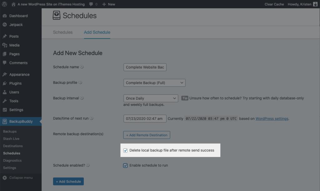 delete local backup file after send success