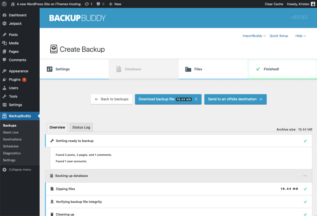 plugin backup for WordPress