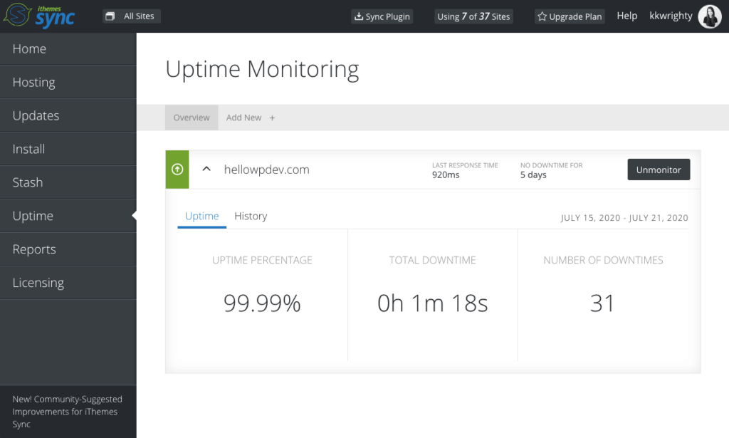 wordpress uptime monitoring