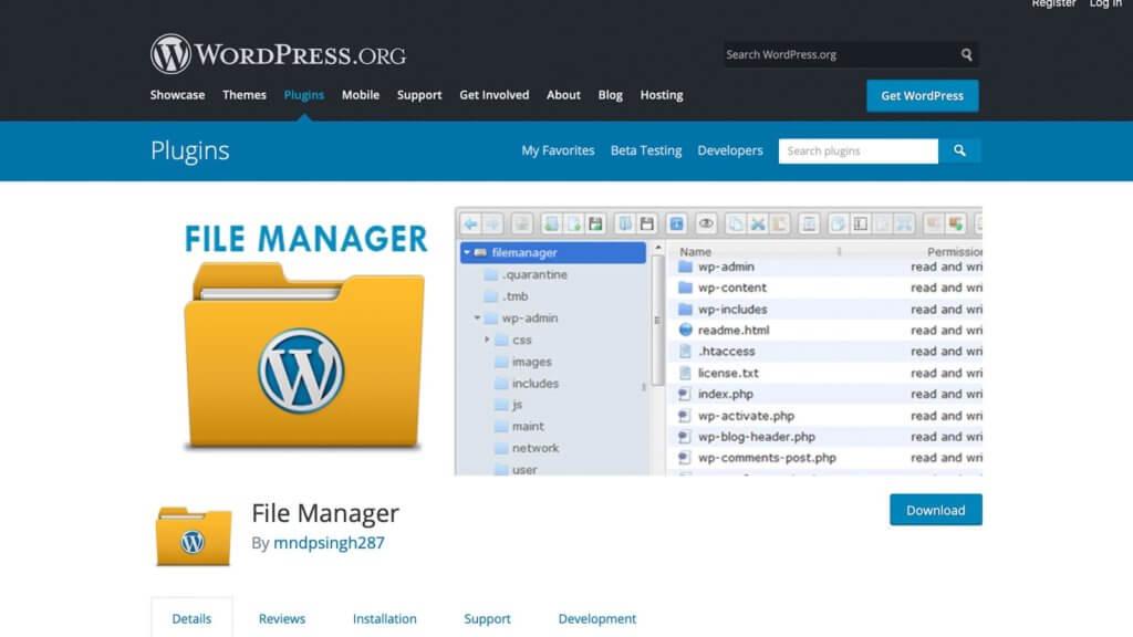The File Manager WordPress plugin