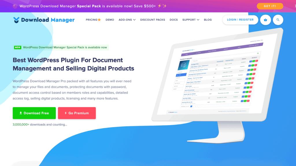 The WordPress Download Manager Pro plugin website