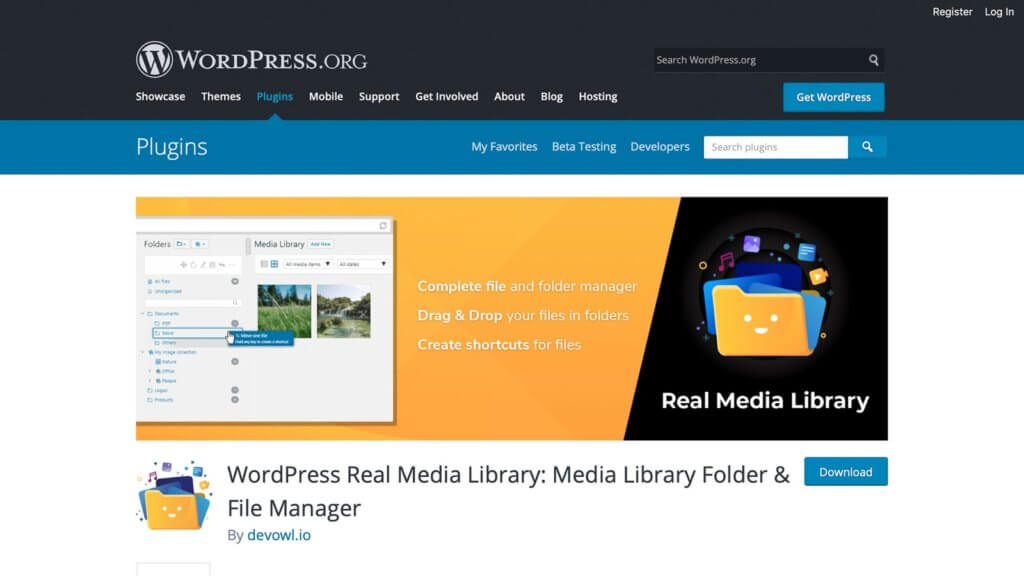 The Real Media Library plugin page.