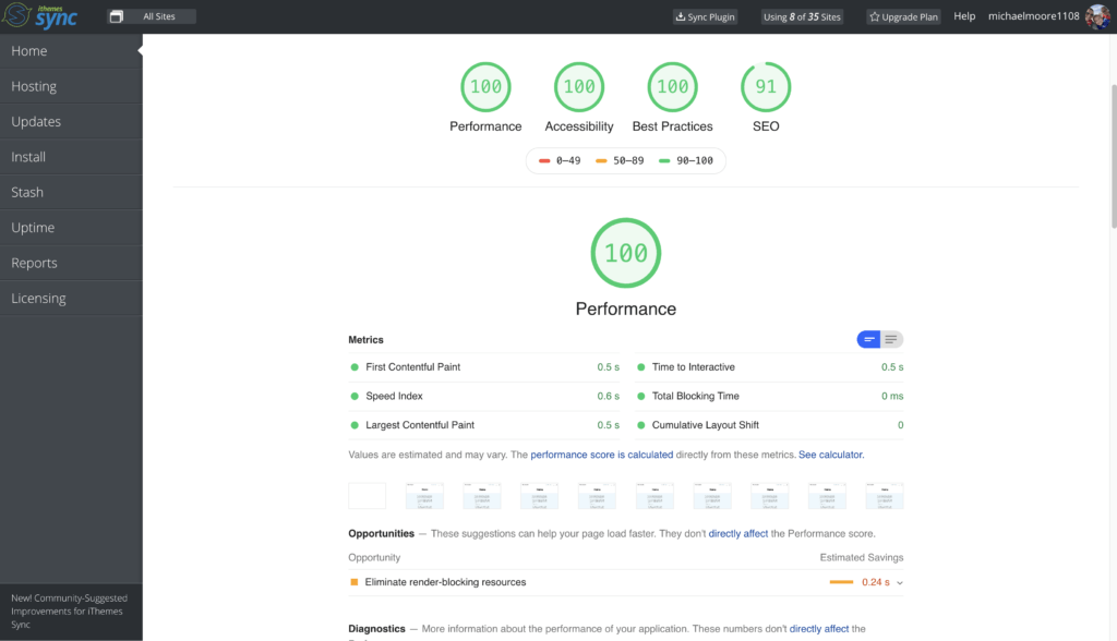 Sync Page Speed Results Overview