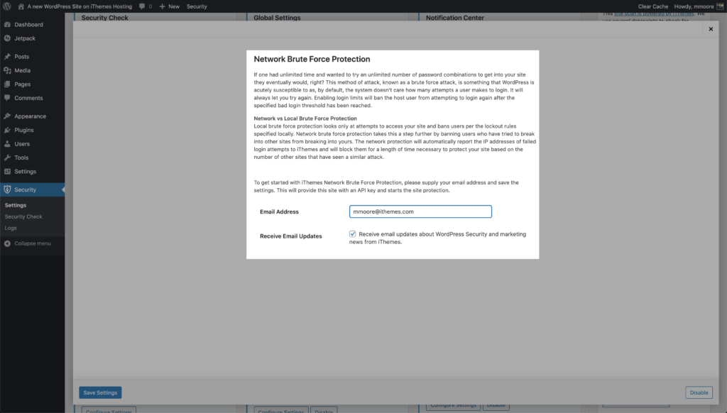 WordPress Security Network Brute Force Settings
