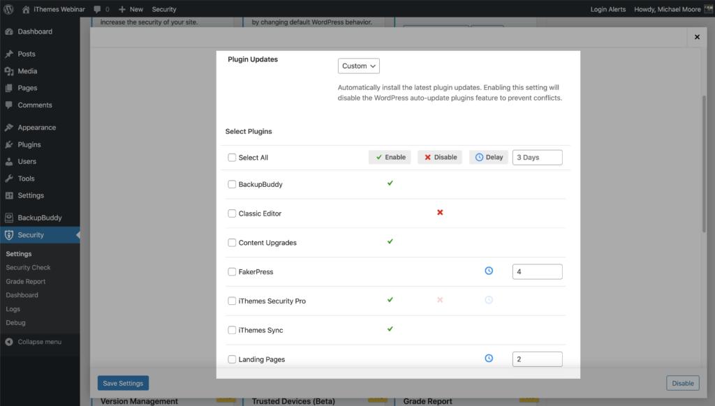 version management plugin settings