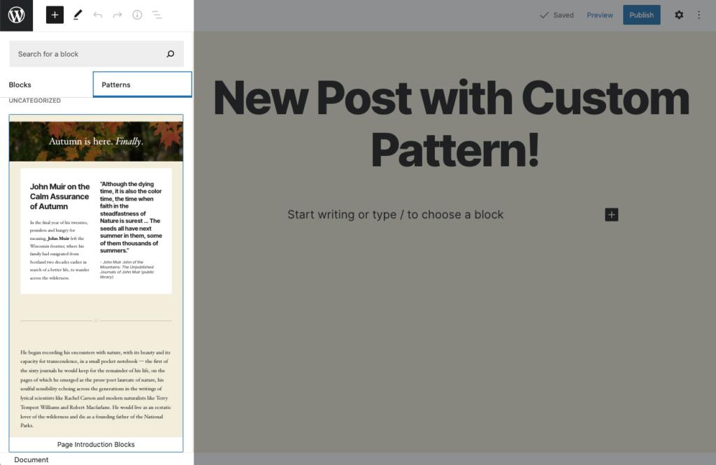 custom WordPress block pattern