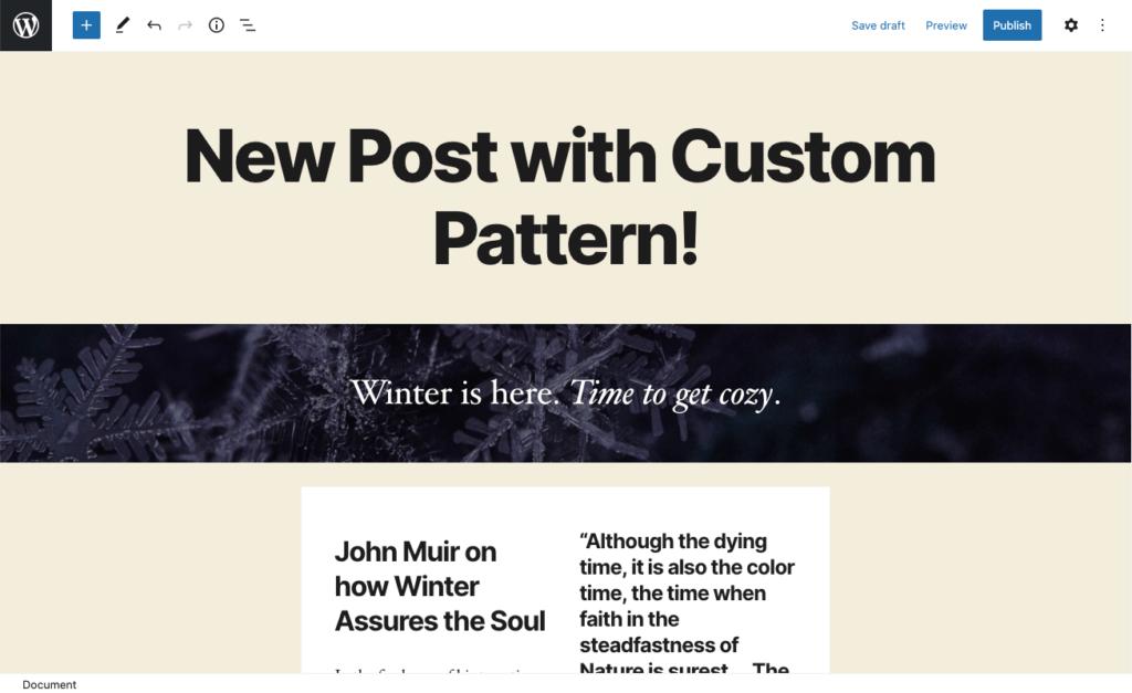 Customize WordPress block pattern