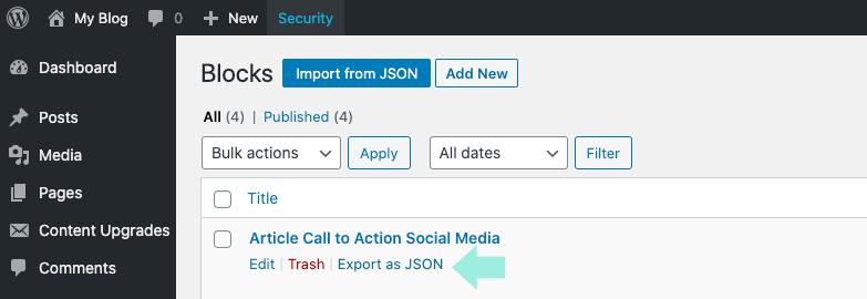 Import from JSON WordPress blocks