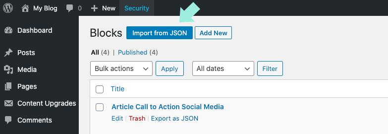 Import from JSON WordPress reusable blocks