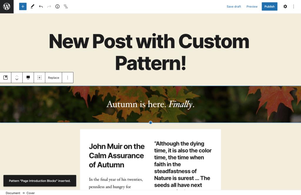 Insert custom WordPress block pattern