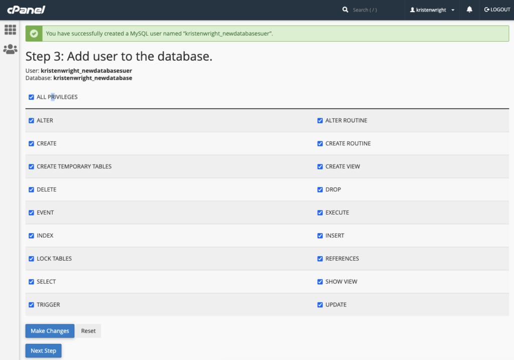 MySQL database user privileges