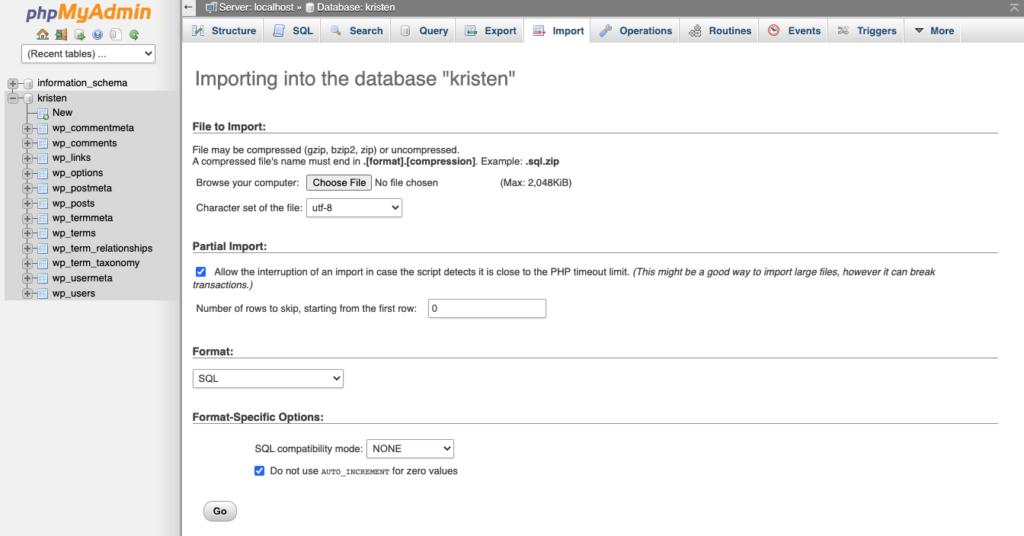 import WordPress database