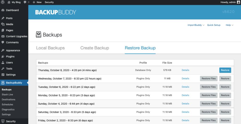 wordpress database restore
