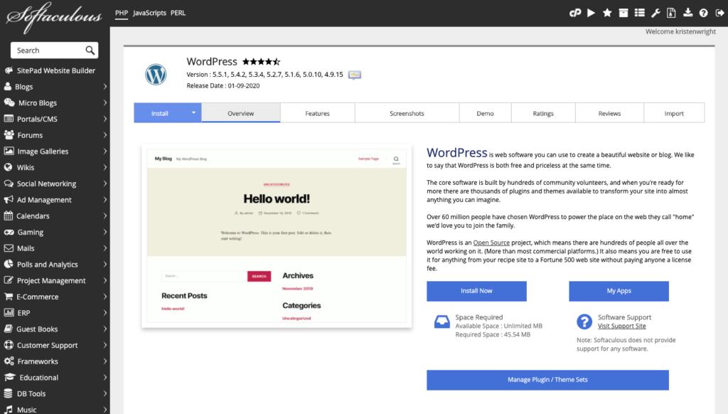 softaculous wordpress install