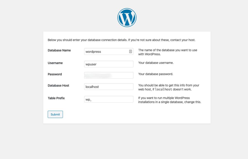 wordpress database connection settings