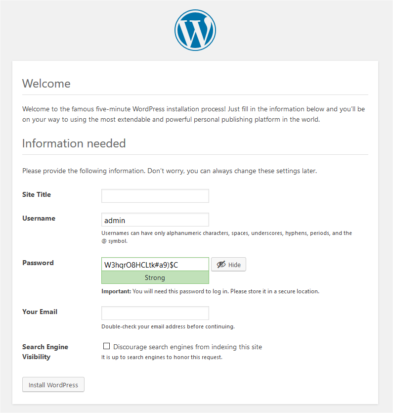 WordPress install settings