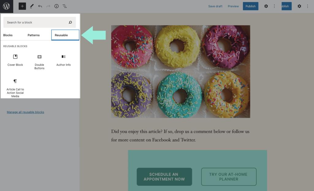 WordPress reusable blocks library
