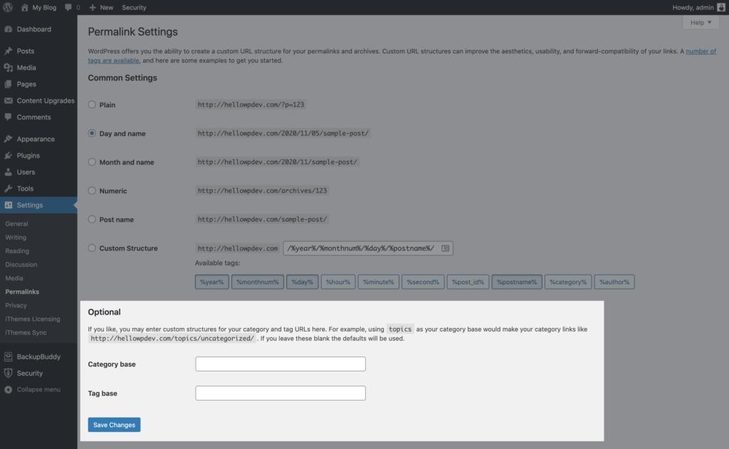 optional permalink settings