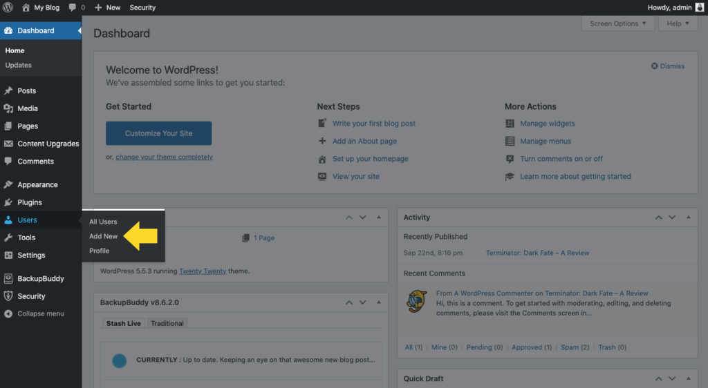 WordPress add new user