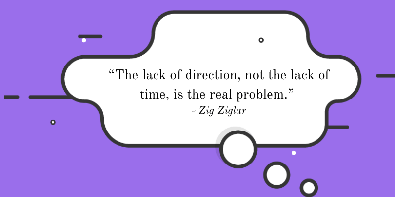 """""""The lack of direction, not the lack of time, is the real problem.""""  - Zig Ziglar"""